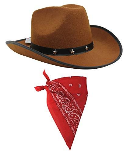 COWBOY FANCY DRESS ACCESSORY SET COSTUME BROWN STAR STUDDED COWBOY HAT &...