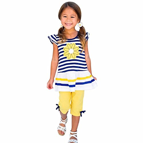 Orangeskycn Kids Girls Daisy Flower Stripe Shirt Top Bow Pant Set Clothing (Age:7-8Y, Yellow)