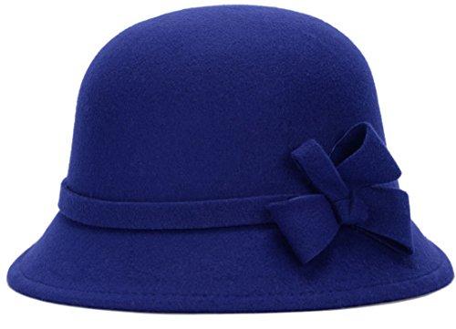 Belsen Belsen Damen Retro Prinzessin Fliege Zylinder Trilby Mütze Fischer Hut (Blau)