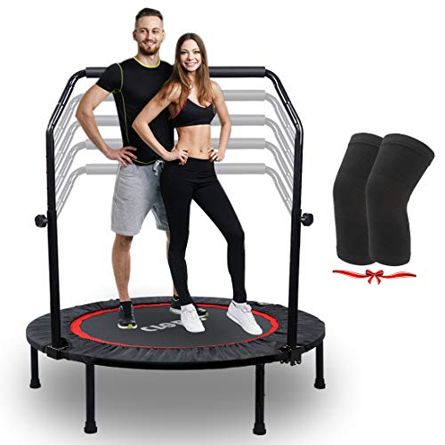 CLORIS Foldable Mini Trampoline-5 Height Adjust Load 500 lbs Cardio Exercise Trampoline, Thick Steel Spring Fitness Workout Rebounder Trampoline with Handle Handrail Kids Adults Indoor Outdoor Garden