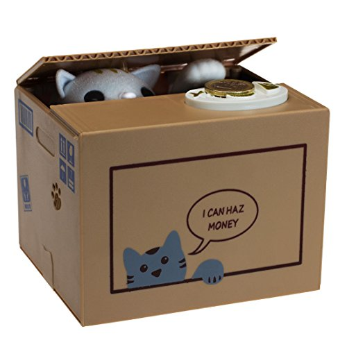 getDigital Katzenspardose Katze in der Box Geschenk für Katzenliebhaber, Plastik, beige, 15 x 12 x 12 cm