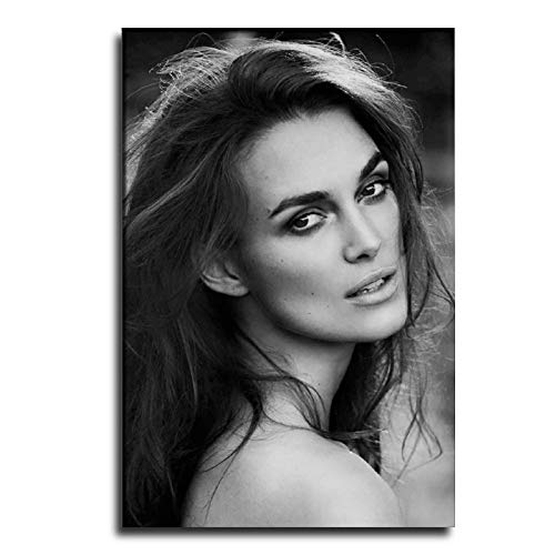 ZZNN Famous Actors Keira Knightley Beautiful Sexy Black and White Photo Best Poster Poster Decorative Painting Canvas Wall Art Living Room Posters Bedroom Painting 12×18inch(30×45cm)