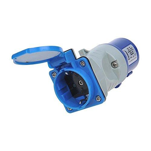 ProPlus 373519 - Adaptador de acoplamiento de clavija IEC industrial macho a toma de corriente schuko hembra