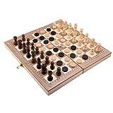 Lixada チェス チェス チェッカーズ ゴバン 木製スリーインワンスーツ 折りたたみ式