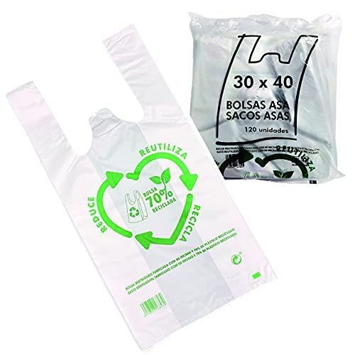 Various Bolsas de Plástico Tipo Camiseta Resistentes, Reutilizables y Recicladas Tamaño 30x40 cm - 120 uds Aprox. 70% Recicladas Cumple Normativa Aptas Uso Alimentario (blanco 30x40