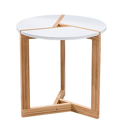 Table XIAOYAN Basse Round Side Tea Basse Petites De Fin De Salon Bar Hôtel Haut Blanc Et Jambe De Bambou 2 Tailles Multifonctionnel (Taille : 40 * 40 * 41cm)