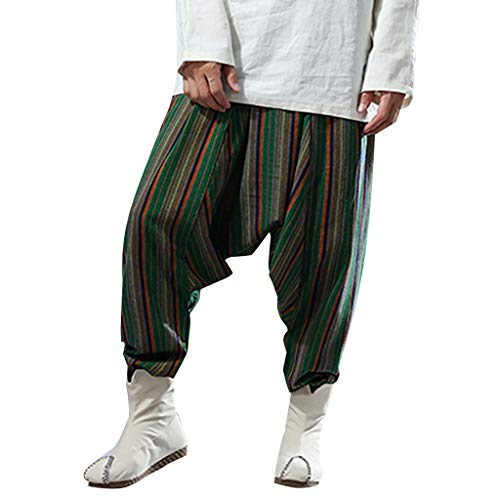 Dwevkeful Haremshose Herren Herbst Gewinner Hip Hop Fitness Running Sporthose Leinen Hosen Trainingshose Freizeithose Pants Loose Fit Calf Length
