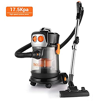 TACKLIFE Wet Dry Vacuum, 18Kpa Powerful Suction, 5.5 HP 4 Gallon Shop Vacuum with Extension Wand 4 Wheels Low Power Loss for Home Garage Cars