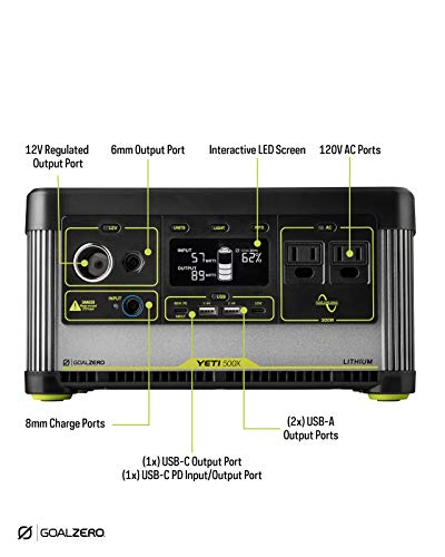 Goal Zero Yeti 500X Portable Power Station, 505Wh Portable Lithium Battery Emergency Power Station, Outdoor Solar Generator, 120V AC Pure Sine Wave Inverter, 12V Car Port, 6mm, USB C PD, USB A Port…