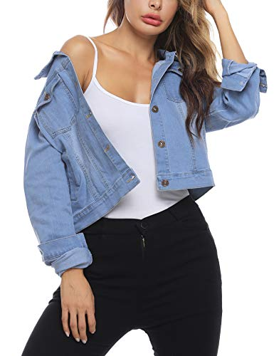 Akalnny Damen Jeansjacke Damenjacke Jeans Jacke Kurze Nieten Langarm Stretch Vintage Wash Denimjacke Revers Outwear(Hellblau,L