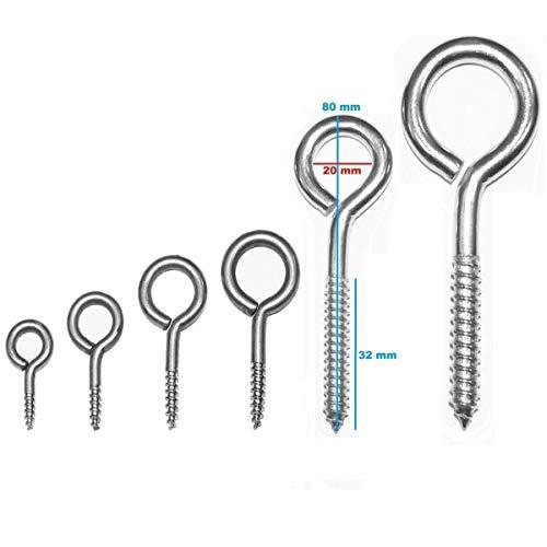 Ringschraube Schraubösen Hakenschrauben Stahl verzinkt - Stabile Schraubhaken in 6 verschiedenen Größen (80mm 15 Stück)