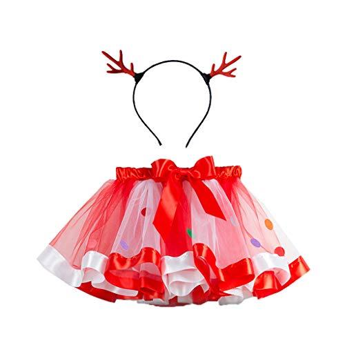 Fossen Disfraz Navidad Bebe Niña Fotografia Tutu Falda Corta + Conjunto de Diadema (3-5 años, Rojo)