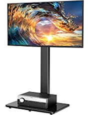 PERLESMITH Universal Floor TV Stand / Base with Swivel Mount for Most 32-65 inch LCD LED TVs - Height Adjustable, Cable Management and Space Saving, VESA 600x400mm, Perfect for Corner & Bedroom PSFS01