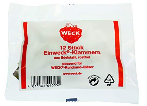 Weck - Set di 12 ganci per chiusura e fissaggio
