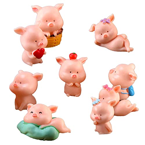 Miniature Pig Figurines  Cute Pink Piggy Toy Figures Cupcake Toppers for Fairy Garden Car Party Decor(Pack of 9)