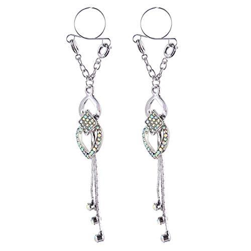 EXCEART 2 Stück 1 Paar Nippelring aus Edelstahl Brustklemmen Nippel-Piercing-Ringe für Frauen (Silber)