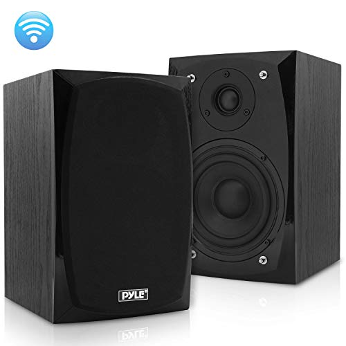 HiFi Desktop Bookshelf Speakers Pair - 300 Watt Powered Bluetooth Compatible Active Passive Book Shelf Speakers - Studio Monitor Computer Desk home Stereo Speaker System w/ AUX/RCA/USB - Pyle PBKSP22