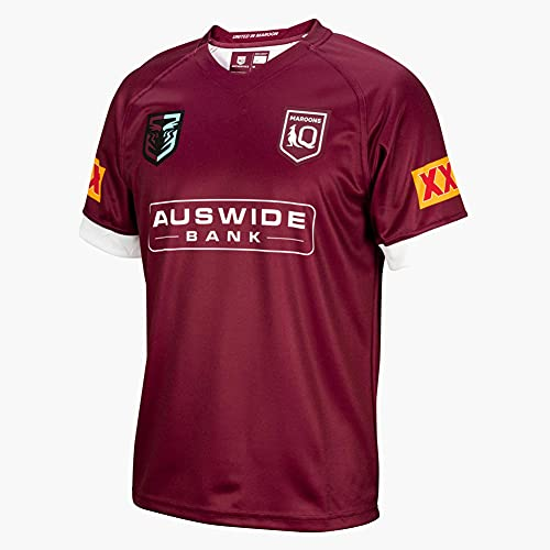 Jersey de rugby de manga corta para hombre, diseño de Australia retro, color rojo, adecuado para caminar, vacaciones, reuniones de club, deportes