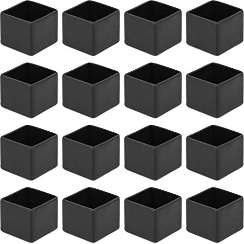Anwenk Chair Leg Floor Protectors Fit Chair Leg Size 25 x 25mm Square Small for Outdoor Patio Chair Leg Tips, 16Pack, Color Black