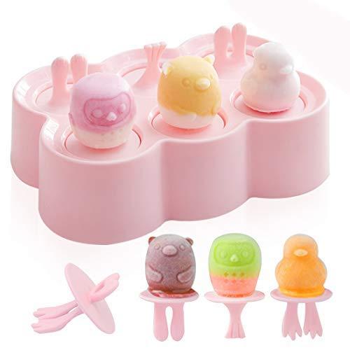 Eisform Kinder, Eisformen Silikon, 6 Kleine Eisförmchen, Eis am Stiel Formen, Wiederverwendbar Popsicle Formen LFGB Geprüft und BPA Frei, Mini Eisform für Kinder, Baby