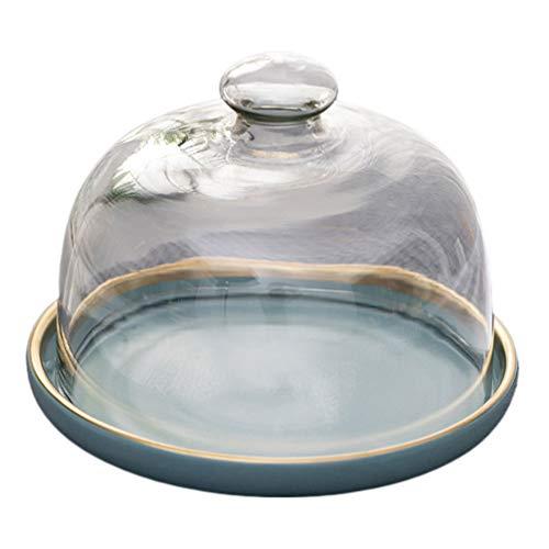 Cabilock 1 juego de soporte para tartas, campana de cristal, quesera con plato de cerámica, tapa para tartas, campana para tartas, tapa para alimentos, tapa para la comida