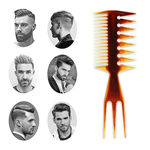 Mens Styling Hair Comb Brown Hair Brush Wide Tooth Brown