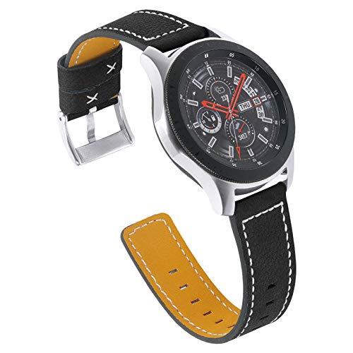 Pulsera para Galaxy Watch 42mm,Miya System Ltd Correa Delgada de Cuero Genuino con Hebilla de Metal para Galaxy Watch 42 mm/Galaxy Watch 3 41 mm / Active2 40 mm 44 mm/Gear S2 (M2)