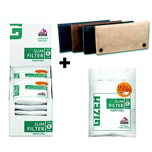 kogu Set Gizeh Menthol Slim Filter 6mm 10 x 120 mit Klebestreifen und gratis Tabaktasche
