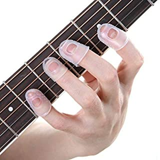 Yunzee 15 PCS Silicone Finger Sleeve Non Slip Anti Scalding Cover Flip Book Playing Piano Guitar Bass Finger Protector Sleeve,Clear