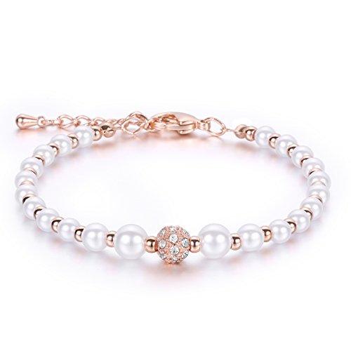 JDGEMSTONE - braccialetto con perle bianche e strass, color argento e oro rosa, da donna, regolabile ed elegante