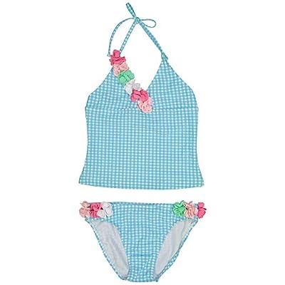 Tommy Bahama Girls' 2-Piece Bikini Swimsuit Bathing Suit, Blue Gingham, 18MO