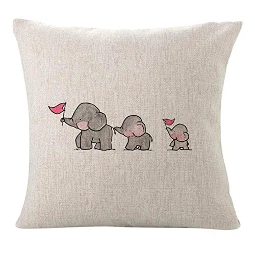 HZLM Funda de cojín decorativa para bebé, madre, elefantes, 45 x 45 cm