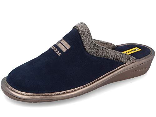 Zapatillas de casa en ante azul marino, Azul marino, 37