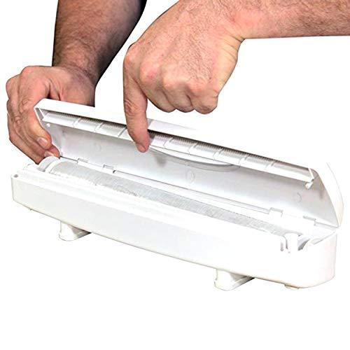 Tree-on-Life Plastikfolie/Konservierungsmittel Filmschneider Spender für Folie oder Frischhaltefolie Küchenzubehör Blöcke Rollbeutel weiß