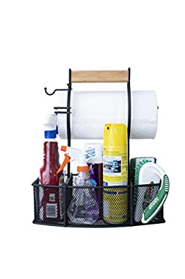 Steel Caddy For Organizing Paper Towels, Condiments, Tools for Grill, BBQ, Picnics, Household Cleaning, Garage, Cars Caddy