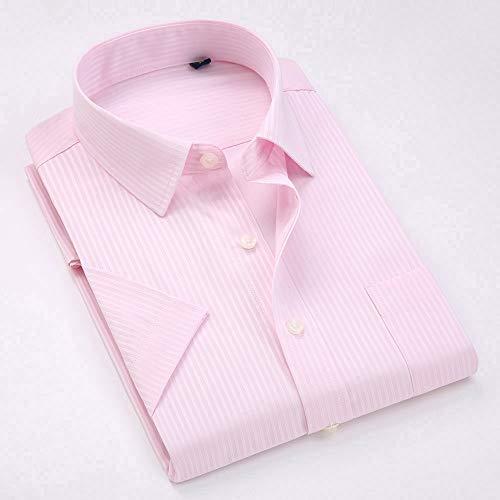 NSSY herenhemd korte mouwen gestreepte hemden normaal hemd zonder strijkijzer Regular Fit Businesshemd