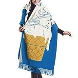 Photo de Cats Ice Cream Cashmere Feel Classic Doux luxe écharpe d'hiver pour hommes Femmes 77 x 27 pouces / 192 x 68 cm