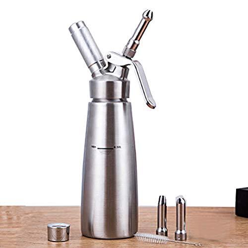 Dispenser Van Slagroom Met 3 Professionele Decoratieve Nozzles N20 Maakt Gebruik Van Standaard Cartridges, Om Plezier Cakes Maken, Roestvrij Staal,Silver,S