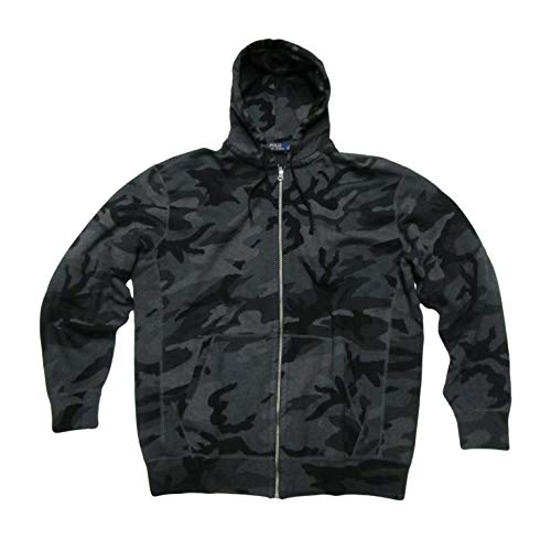 Polo Ralph Lauren Men's Big and Tall Hooded Sweatshirt Hoodie Zippered Fleece Jacket (2X Tall, Charcoal RL Camo)