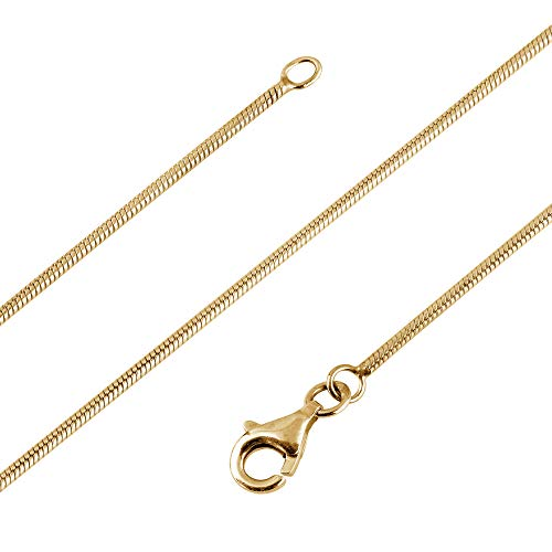 Avesano Schlangenkette 24K vergoldet in 925 Sterling Silber für Frauen, Farbe Gold, Silberkette ohne Anhänger, Breite 1mm, Länge 42 45 50 60 70 cm, 101021-550