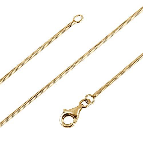 Avesano Schlangenkette 24K vergoldet in 925 Sterling Silber für Frauen, Farbe Gold, Silberkette ohne Anhänger, Breite 1mm, Länge 42 45 50 60 70 cm, 101021-560