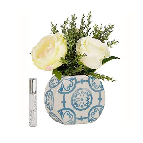 Baci Milano Vase midi Rond avec Roses et Vaporisateur en Porcelaine Turquoise FVAS2.FIO03