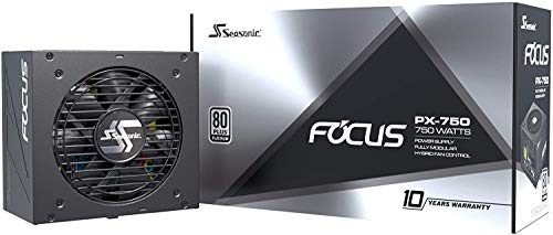 Seasonic FOCUS PX-750, 750W 80+ Platinum Full-Modular, Fan Control in Fanless, Silent, and Cooling Mode, Perfect Power Supply for Gaming and Various Application, SSR-750PX.