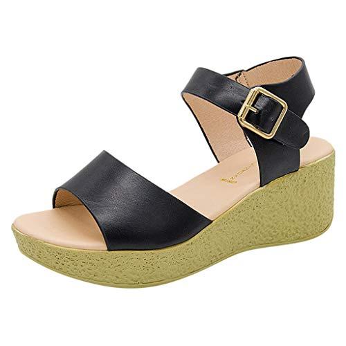 Sandalias Mujer Verano 2019 Sandalias Romanas Cuñas de Punta Abierta acón Alto Bohemia Zapatos Talla Grande Casuales de Playa Chanclas de Playa Moda Sandalias de Vestir 34-42