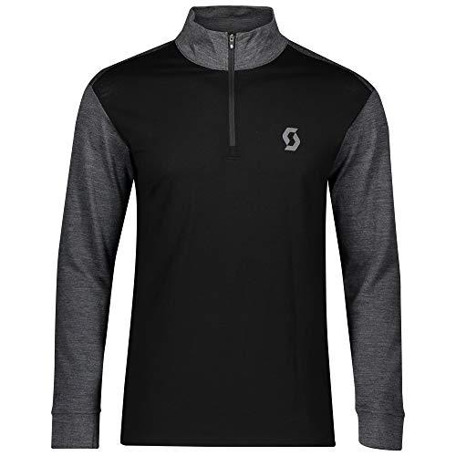Scott - Maglia da uomo con zip, modello Defined Merino, taglia XXL, colore: grigio scuro melange/nero