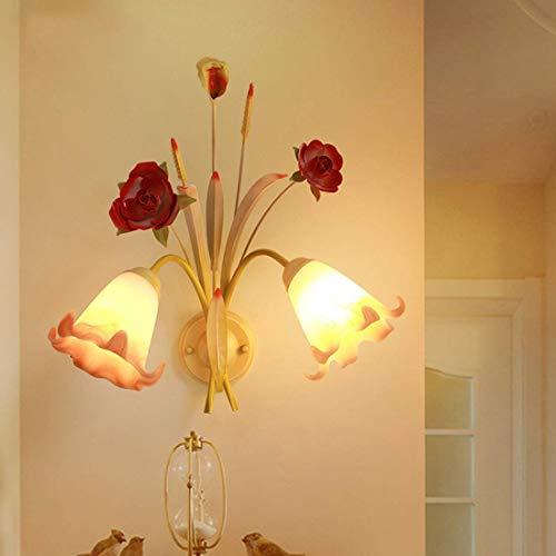 Pastoral Lámparas de pared florales montaje en pared pantalla de vidrio luces de noche hierro rosa roja aplique de pared luces para dormitorio sala de estar pasillo balcón 2 luces