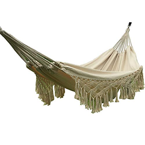 HI SUYI Handmade Cotton Woven Balcony Hammock Hanging Rope Chair Porch Swing with Crochet Fringe for Backyard Patio Garden Outdoor and Indoor Boho Style Natural White
