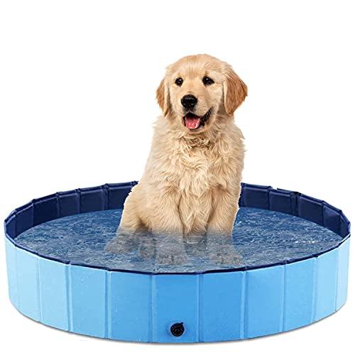 O'woda Hunde Planschbecken 80 * 20cm,Hundeplanschbecken mit Ablassventil,Faltbarer Haustier-Duschbecken,PVC-rutschfest Schwimmbecken Hundebadewanne Für Hunde und Katzen