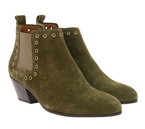 Closed Short Cowboy Boot Kurze Damen Echtleder Stiefelette mit Nieten Ankle Boots Mode-Stiefel Khaki, Größe:36