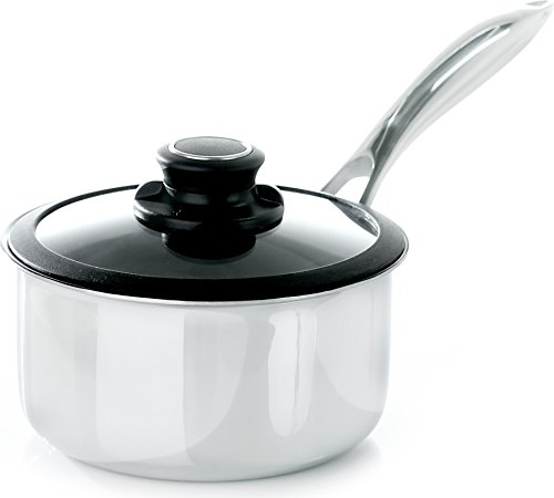 Black Cube Hybrid Stainless/Nonstick Cookware Saucepan with Lid, 2.5...